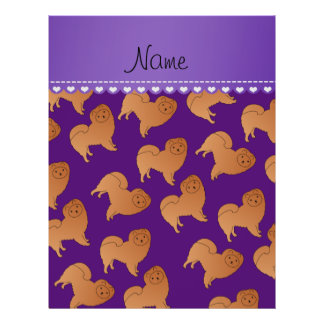 Personalized name purple chow chow dogs 21.5 cm x 28 cm flyer