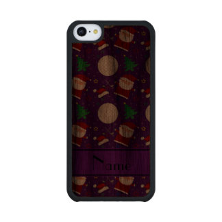 Personalized name purple christmas golfing carved® walnut iPhone 5C slim case