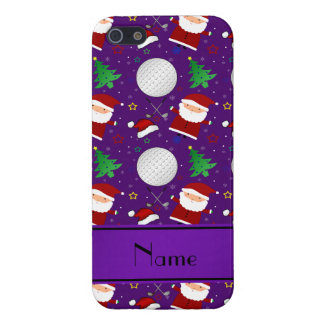 Personalized name purple christmas golfing iPhone 5 cases