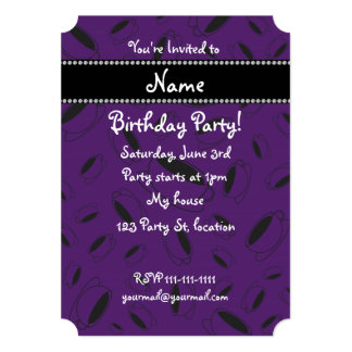 "Personalized name purple coffee cup 5"" x 7"" invitation card"