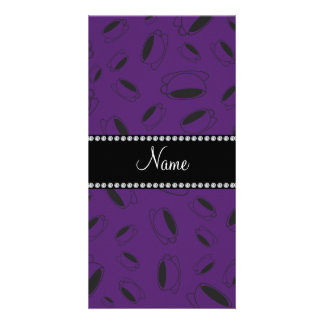 Personalized name purple coffee cup photo greeting card