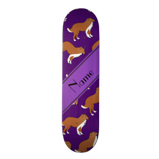 Personalized name purple collie dog pattern 21.6 cm skateboard deck