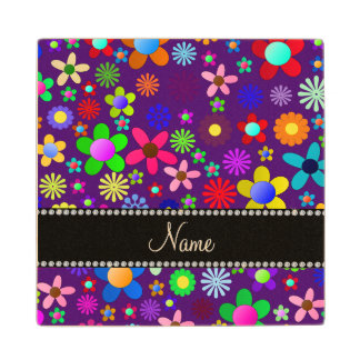 Personalized name purple colorful retro flowers wood coaster