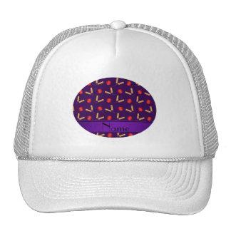 Personalized name purple cricket pattern cap