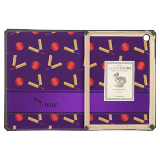 Personalized name purple cricket pattern iPad air covers