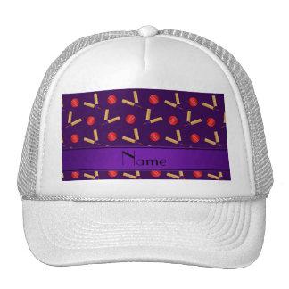 Personalized name purple cricket pattern trucker hat