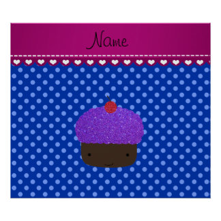Personalized name purple cupcake blue polka dots poster
