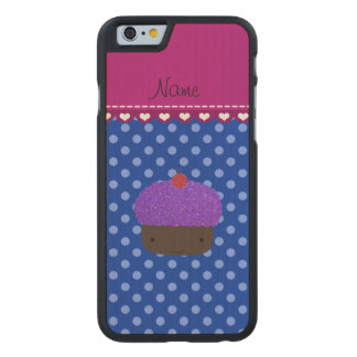 Personalized name purple cupcake blue polka dots carved® maple iPhone 6 slim case