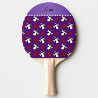 Personalized name purple cupid penguins red hearts