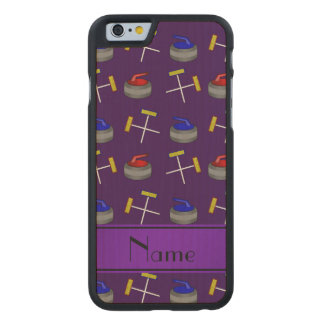 Personalized name purple curling pattern carved® maple iPhone 6 case