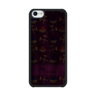 Personalized name purple curling pattern carved® walnut iPhone 5C case