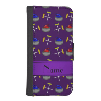 Personalized name purple curling pattern phone wallet case
