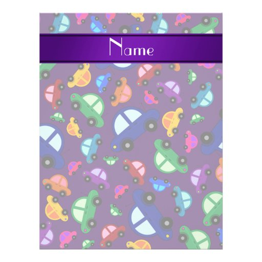Personalized name purple cute car pattern flyers