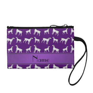 Personalized name purple dalmatian dogs change purse