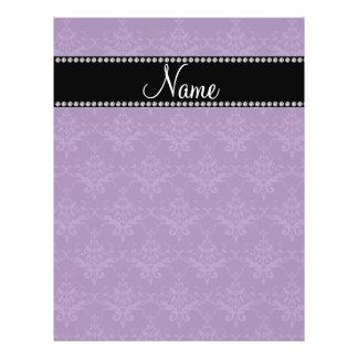 Personalized name Purple damask Custom Flyer