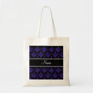 Personalized name purple damask glitter tote bag
