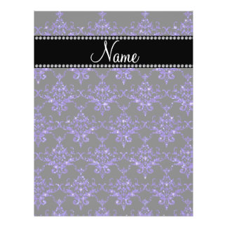 Personalized name purple damask glitter full color flyer