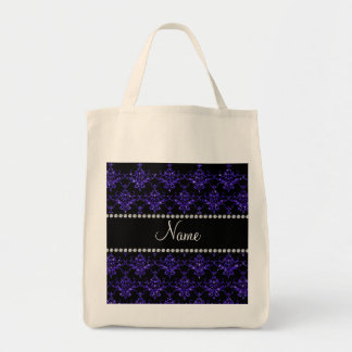 Personalized name purple damask glitter canvas bag