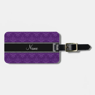 Personalized name Purple damask Bag Tags