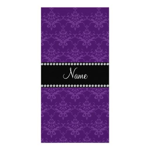 Personalized name Purple damask Photo Greeting Card