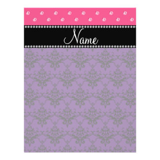 Personalized name purple damask pink diamonds full color flyer