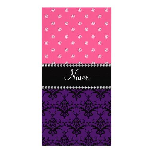 Personalized name purple damask pink diamonds photo card
