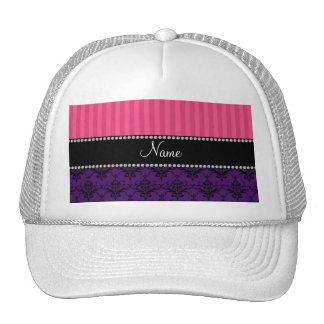Personalized name purple damask pink stripes hat