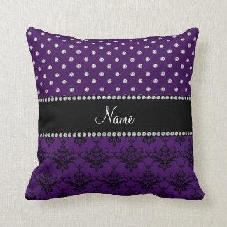 Personalized name purple damask purple diamonds cushion
