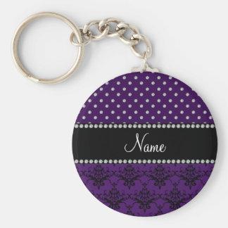 Personalized name purple damask purple diamonds keychains