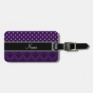 Personalized name purple damask purple diamonds luggage tags
