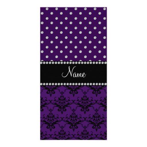 Personalized name purple damask purple diamonds photo cards