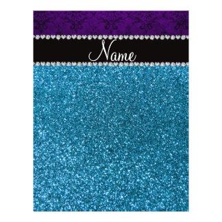 Personalized name purple damask sky blue glitter flyer design