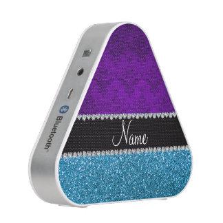 Personalized name purple damask sky blue glitter speaker