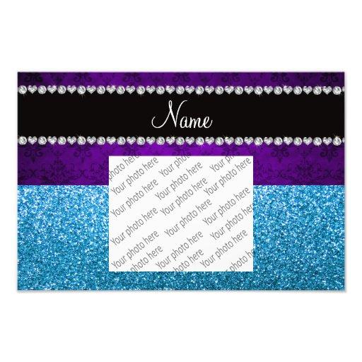 Personalized name purple damask sky blue glitter photo art