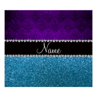 Personalized name purple damask sky blue glitter poster