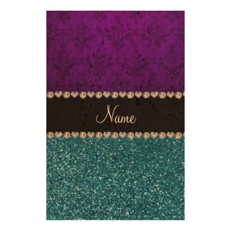 Personalized name purple damask sky blue glitter cork paper prints