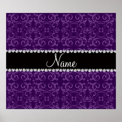 Personalized name purple damask swirls poster