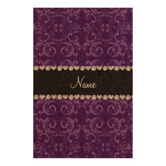 Personalized name purple damask swirls queork photo print
