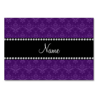 Personalized name Purple damask Table Card
