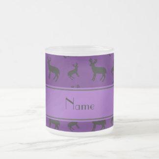 Personalized name purple deer purple stripe frosted glass mug