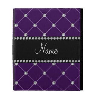 Personalized name Purple diamonds iPad Folio Covers