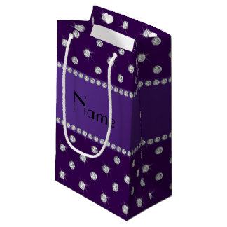 Personalized name purple diamonds small gift bag