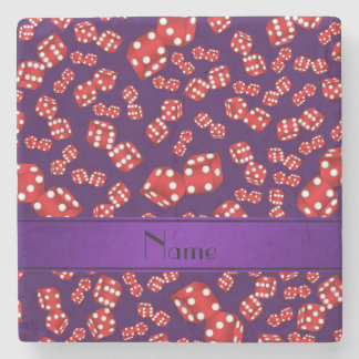 Personalized name purple dice pattern stone coaster