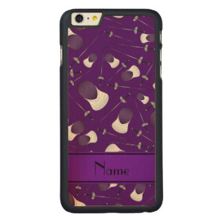 Personalized name purple fencing pattern iPhone 6 plus case