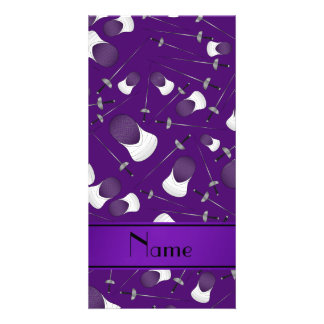 Personalized name purple fencing pattern personalised photo card