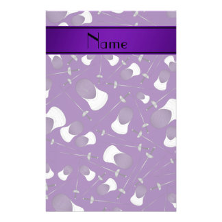 Personalized name purple fencing pattern stationery