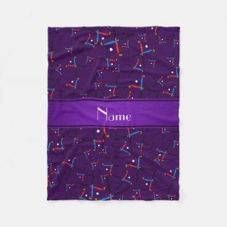 Personalized name purple field hockey fleece blanket