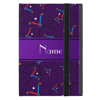 Personalized name purple field hockey pattern cover for iPad mini