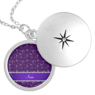 Personalized name purple figure skating necklace