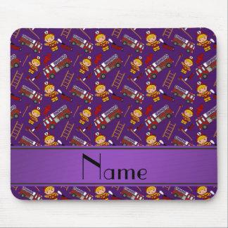 Personalized name purple firemen trucks ladders mouse pad